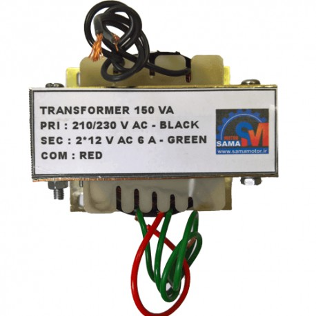 ترانس دوبل 12 ولت 2*12 با جریان 6 آمپر و ورودی 220 ولت با خروجی 3 سر و توان 144 وات