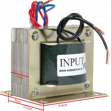 ترانس دوبل 6 ولت 2*6 با جریان 10 آمپر و ورودی 220 ولت با خروجی 3 سر و توان 120 وات