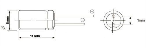 خازن الکترولیت 10 میکروفاراد 50 ولت DIP