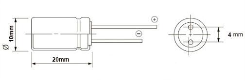خازن الکترولیت 2200 میکروفاراد 10 ولت DIP