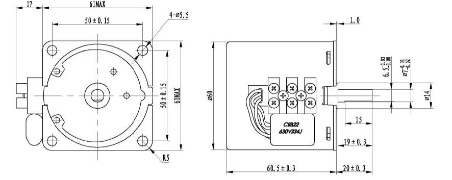 ابعاد موتور گیربکس دار 220 ولت 60KTYZ